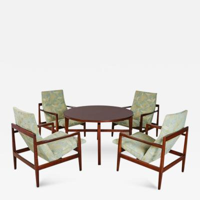 Jens Risom Jens Risom Cocktail Lounge Set with Revolving Table Complete circa 1960