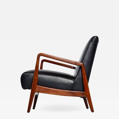 Jens Risom Jens Risom Danish Walnut Tufted Black Leather Lounge Chair 1950s