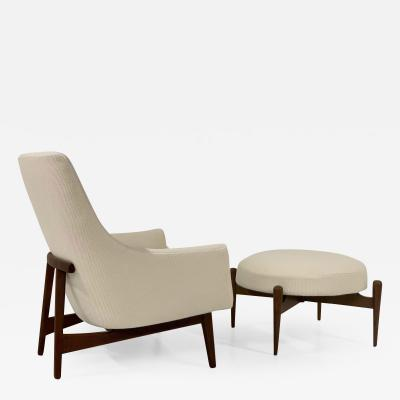 Jens Risom Jens Risom Lounge A Chair and Matching Ottoman Model 6540