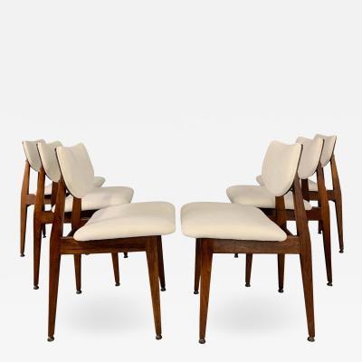 Jens Risom Jens Risom Midcentury Walnut Dining Chairs a Set of Six