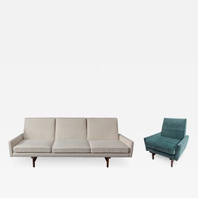 Jens Risom Jens Risom Sculpted 3 Seat Sofa with Walnut Frame