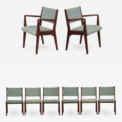 Jens Risom Jens Risom Set of Eight Mid Century Modern Walnut Dining Chairs