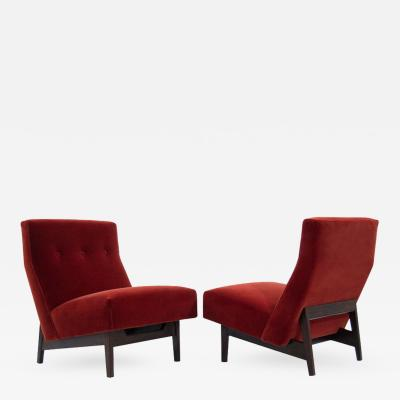 Jens Risom Jens Risom Slipper Chairs in Rust Red Mohair