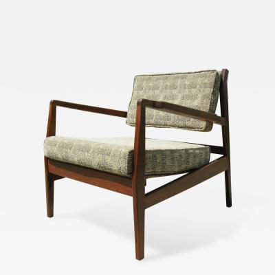 Jens Risom Low Walnut Armchair by Jens Risom