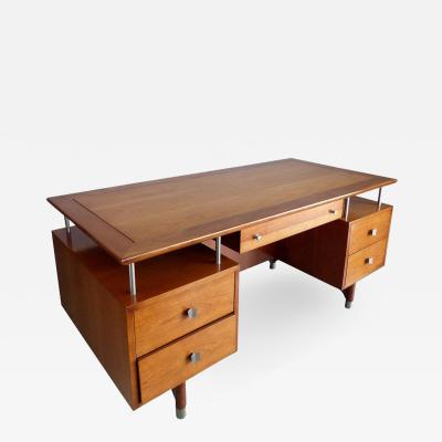 Jens Risom Mid Century Modern Jens Risom Solid Cherry and Chrome Executive Desk