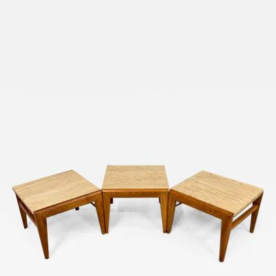 Jens Risom Mid Century Trio of Walnut and Travertine Stools or Bench by Jens Risom