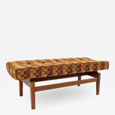Jens Risom Mid Century Upholstered Walnut Bench