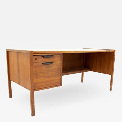 Jens Risom Mid Century Walnut Single Sided 2 Drawer Desk