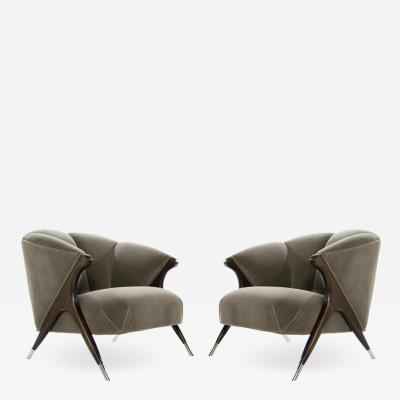 Jens Risom Modernist Karpen Lounge Chairs in Charcoal Mohair 1950s