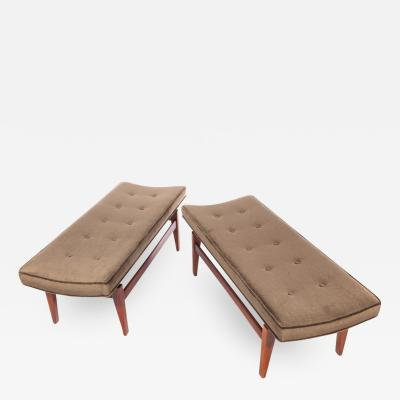 Jens Risom Pair of 1960s Cantilevered Walnut and Mohair Benches by Jens Risom