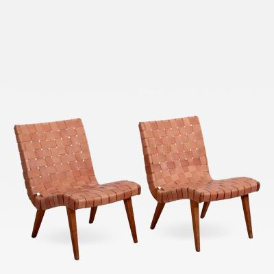 Jens Risom Pair of Early Jens Risom 654W Lounge Chairs by Knoll with New Leather Webbing