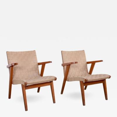 Jens Risom Pair of Jens Risom Lounge Arm Chairs in Solid Oak for Knoll France