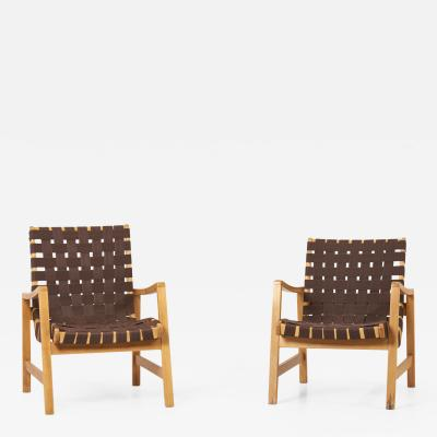 Jens Risom Pair of Jens Risom Lounge Chairs in Brown Webbing for Knoll 1950s