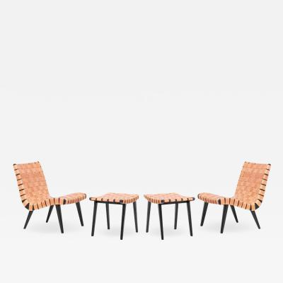 Jens Risom Pair of Leather Webbed Lounge Chair with Ottoman Jens Risom for Vostra