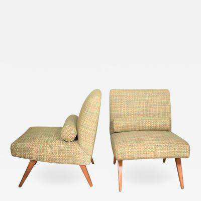 Jens Risom Pair of slipper chairs in the style of jens risom overall chartreuse