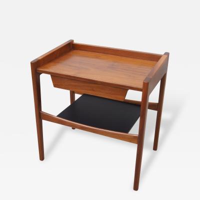 Jens Risom Rare Walnut Leather Low Side Table by Jens Risom