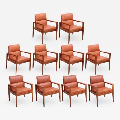 Jens Risom Set of Ten labeled Jens Risom Armchairs in Walnut in cognac leather