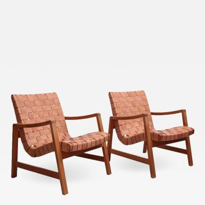 Jens Risom Set of Two Early Jens Risom Armchairs by Knoll with New Leather Webbing