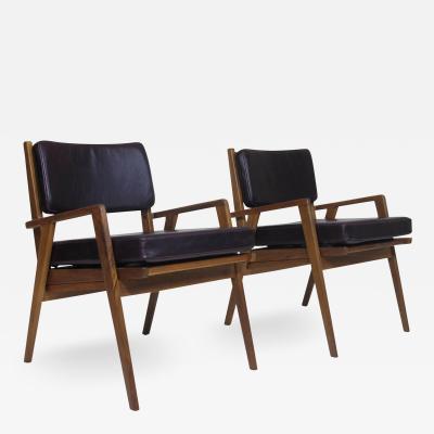 Jens Risom Walnut Chairs Attributed Jens Risom