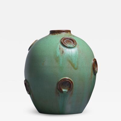 Jerk Werkmaster Jerk Werkmaster ceramic vase for Nittsjo Sweden 1930s 40s