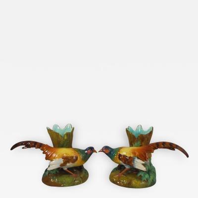 Jerome Massier Pair of 19th Majolica Pheasants Vases Massier