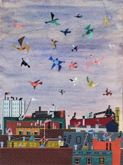 Jerome Snyder Joyful Birds flying over New York City Rooftops The Happy Painting