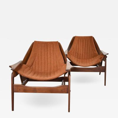 Jerry Johnson Mid century modern triumph i sling chairs by jerry johnson for charlton a pair