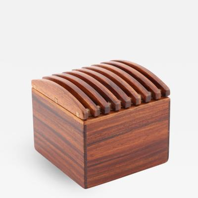 Jerry Madrigale Exotic Wood Box with Ribbed Lid by Jerry Madrigale Circa 1980s