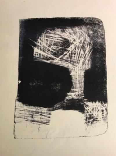 Jerry Opper Mid Century Modern Art Abstract Stone Lithograph