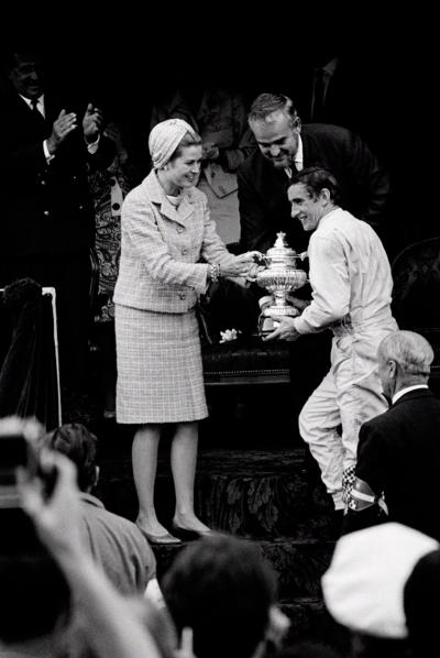 Jesse Alexander Jackie Stewart Recieves Winners Trophy from Princess Grace and Prince Rainier