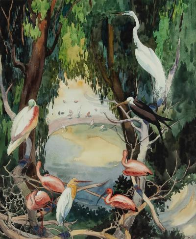 Jessie Arms Botke Birds at a waterhole Flamingos Swans Egrets