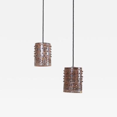 Jette Heller e Pair of unique Handmade Jette Helleroe Danish Modern Pendant Lamps 1960s