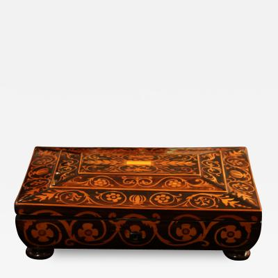 Jewelry Casket Box Rosewood Maple with Floral Inlays Vienna circa 1860