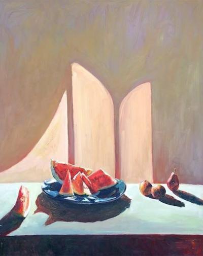 Jian Wang Still Life with Watermelon on a Plate