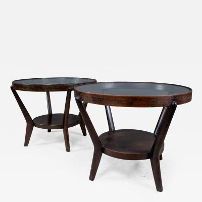 Jindrich Halabala 1930s Jindrich Halabala Bentwood Glass Circular Table Czech