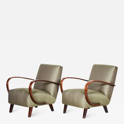 Jindrich Halabala 20th century Artdeco Czech Pair of armchairs