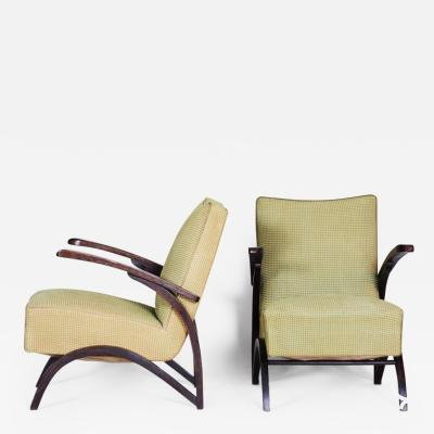 Jindrich Halabala 20th century Functionalism Czech Pair of armchairs