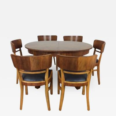 Jindrich Halabala Art deco extendable dining table and six chairs