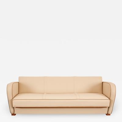 Jindrich Halabala Jindrich Halabala Catalogue piece Beige Vegan Leather sofa bed H 363