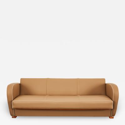 Jindrich Halabala Jindrich Halabala Catalogue piece light cognac Vegan Leather sofa bed H 363