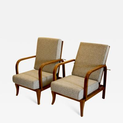 Jindrich Halabala PAIR OF ART DECO RECLINING ARMCHAIRS