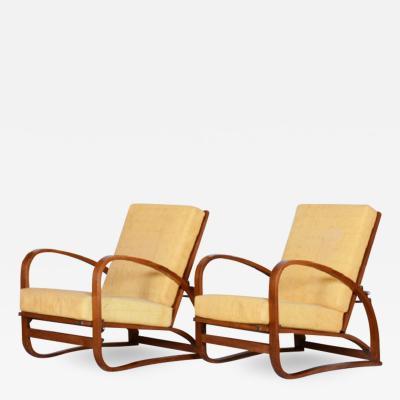 Jindrich Halabala Pair Of Art Deco Halabala Arm Chairs
