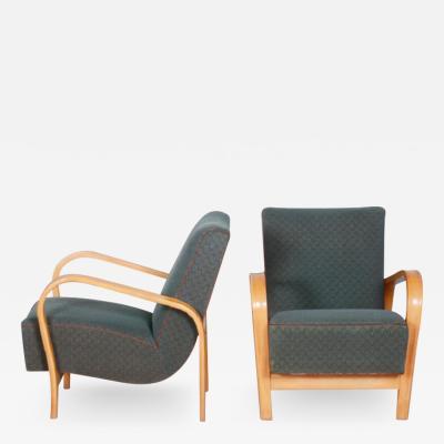 Jindrich Halabala Pair Of Functionalism Arm Chairs Kozelka Kropacek And Halabala Design
