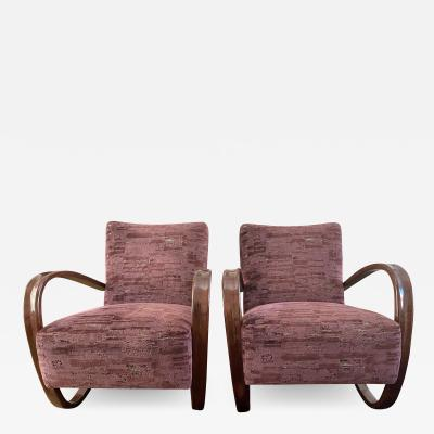 Jindrich Halabala Pair of Cantilevered H269 armchairs by Jindrich Halabala