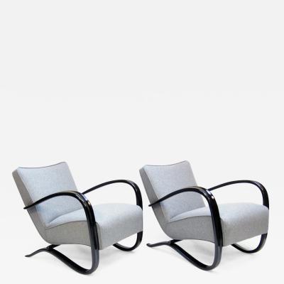 Jindrich Halabala Pair of H 269 Art Deco Lounge Chairs By Jindrich Halabala
