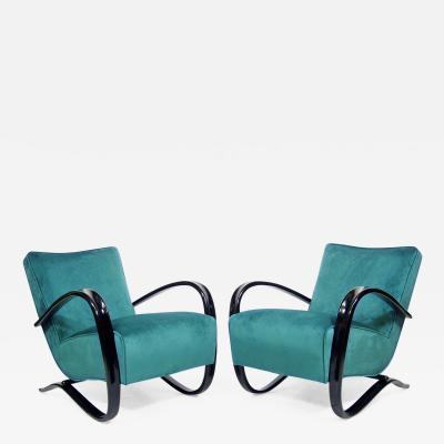 Jindrich Halabala Pair of H 269 Art Deco Lounge Chairs By Jindrich Halabala