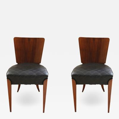 Jindrich Halabala Pair of Halabala Dining Chairs H 214 Walnut Veneer 1930s