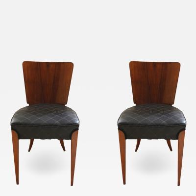 Jindrich Halabala Pair of Halabala Dining Chairs H 214 Walnut Veneer 1930s