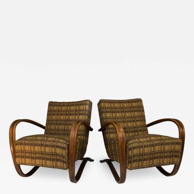 Jindrich Halabala Set of Two Art Deco Armchairs H 269 by Jindrich Halabala 1940s