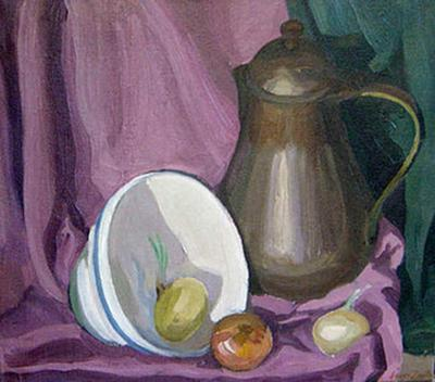 Jirayr Hamparzoom Zorthian Still LIfe in Pink with Pitcher and Onions
